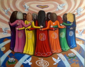 Femme Women Healing the World by Nazim Artist oil on canvas