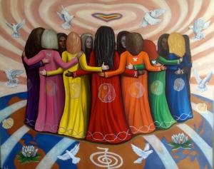 Femme Women Healing the World by Nazim Artist oil on canvas