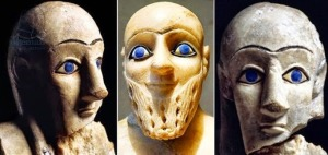 Blue-eyed male and female Sumerian statues.