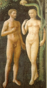 Artist's vision of Adam and Eve however they would have looked quite different in actuality.