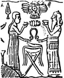 Ninmah and Enki, with beakers and Ninmah's umbilicus-cutter between them and the winged disk symbol of Nibiru, and in this case, the Nibiran genome above them, prepare zygotes for a locally-adapted Homo Sapien
